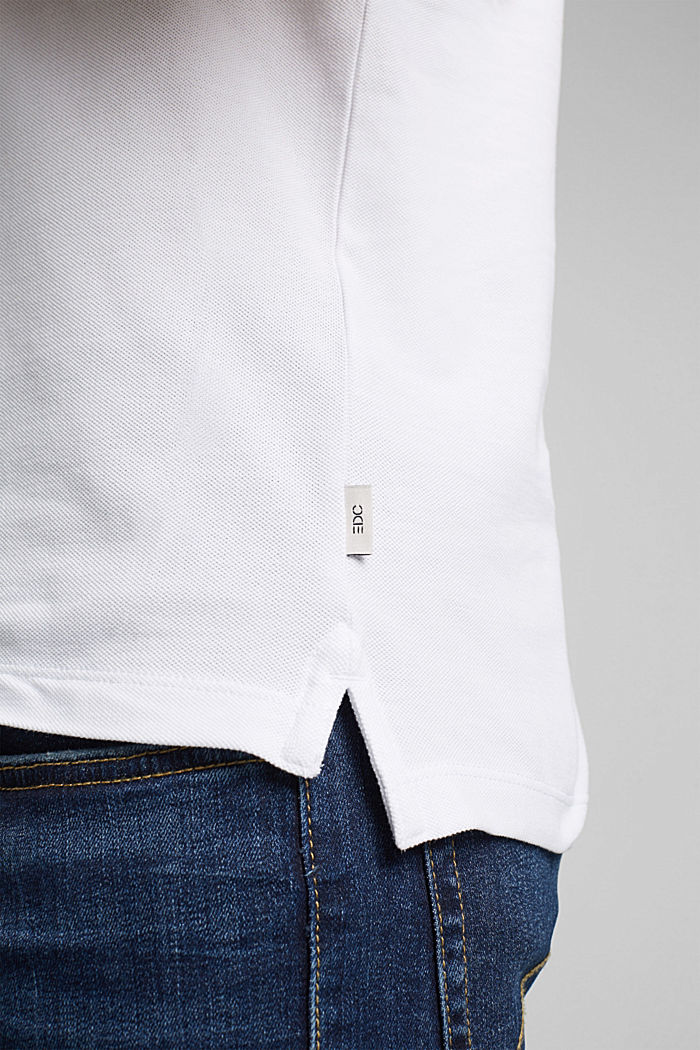 Piqué polo shirt in 100% organic cotton, WHITE, detail image number 6