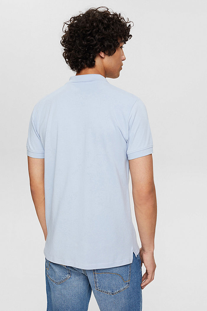 Piqué polo shirt in 100% organic cotton, LIGHT BLUE, detail image number 3