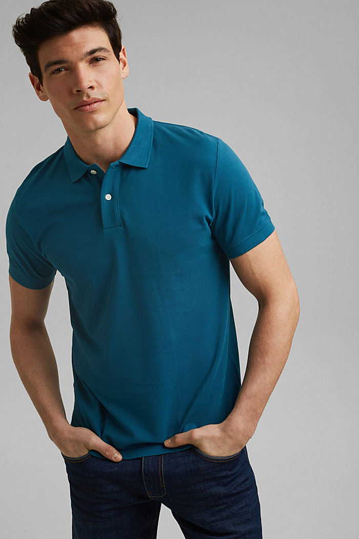 Piqué polo shirt in 100% organic cotton, PETROL BLUE, detail image number 0