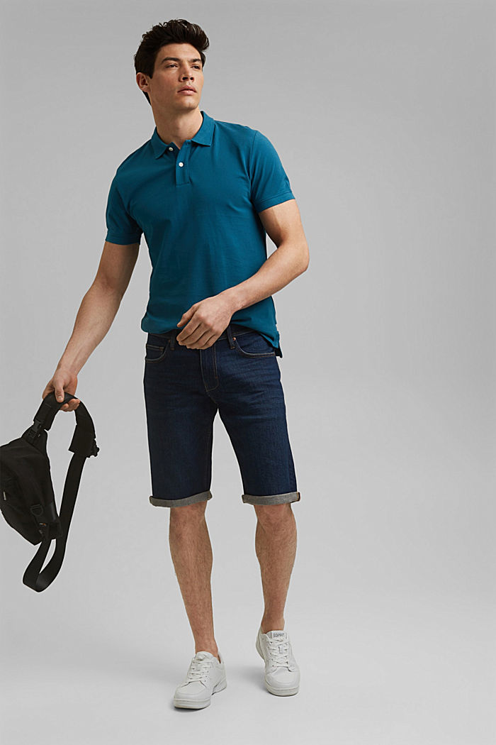 Piqué polo shirt in 100% organic cotton, PETROL BLUE, detail image number 2