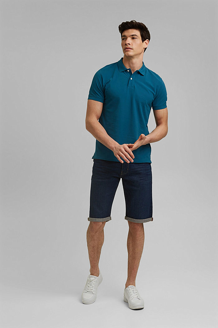 Piqué polo shirt in 100% organic cotton, PETROL BLUE, detail image number 7