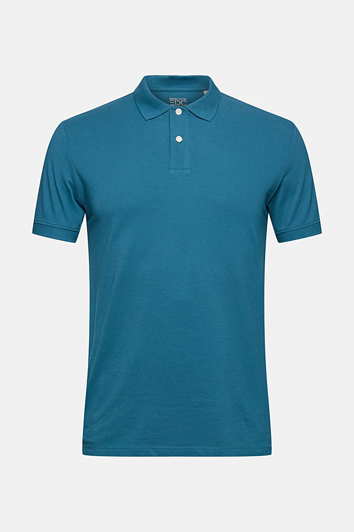 Piqué polo shirt in 100% organic cotton, PETROL BLUE, detail image number 6