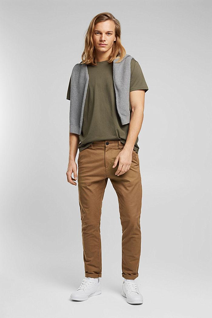 Jersey-T-Shirt aus 100% Bio-Baumwolle, DARK KHAKI, detail image number 2