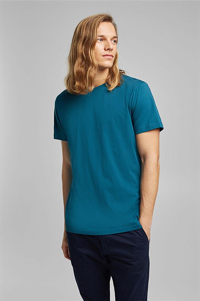 Jersey T-shirt van 100% biologisch katoen, PETROL BLUE, detail image number 0