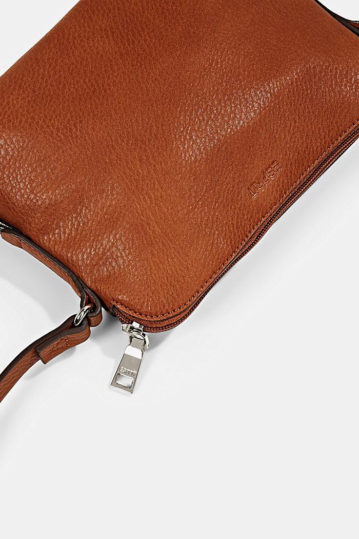 Vegan: Schultertasche in Leder-Optik, RUST BROWN, detail image number 3