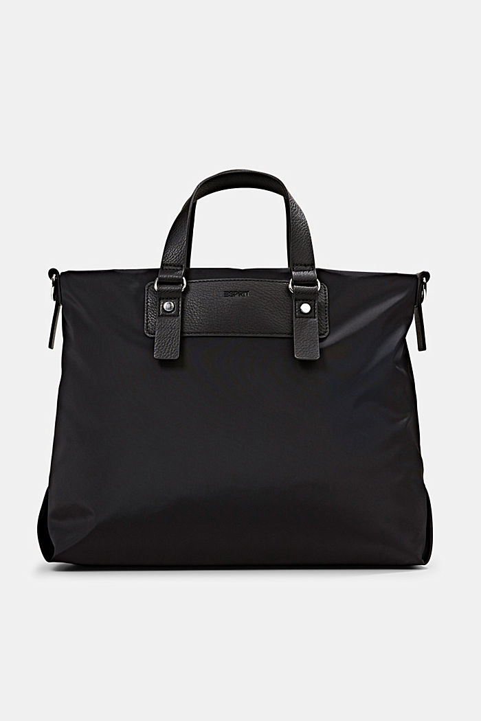 Recycled: Nylon bag with faux leather details