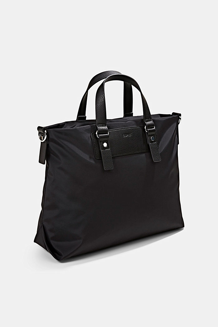 Recycled: Nylon bag with faux leather details, BLACK, detail image number 2