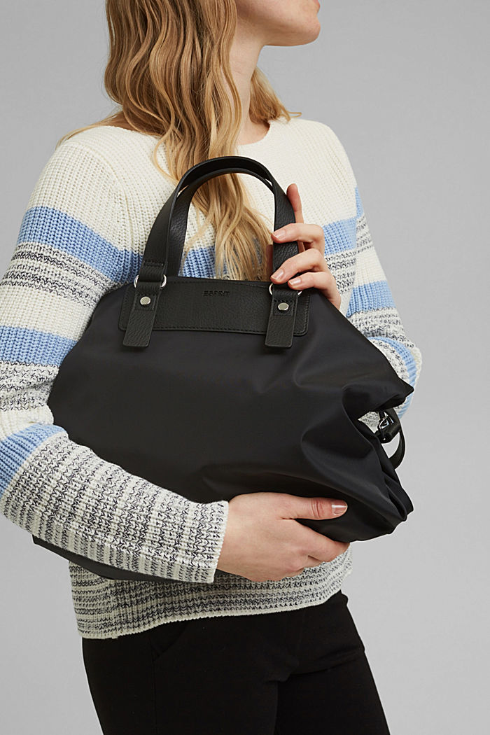 Recycled: Nylon bag with faux leather details, BLACK, detail image number 5