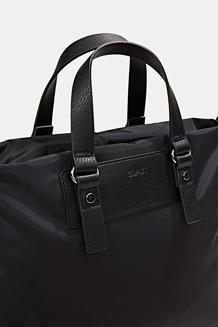 Recycled: Nylon bag with faux leather details, BLACK, detail image number 4