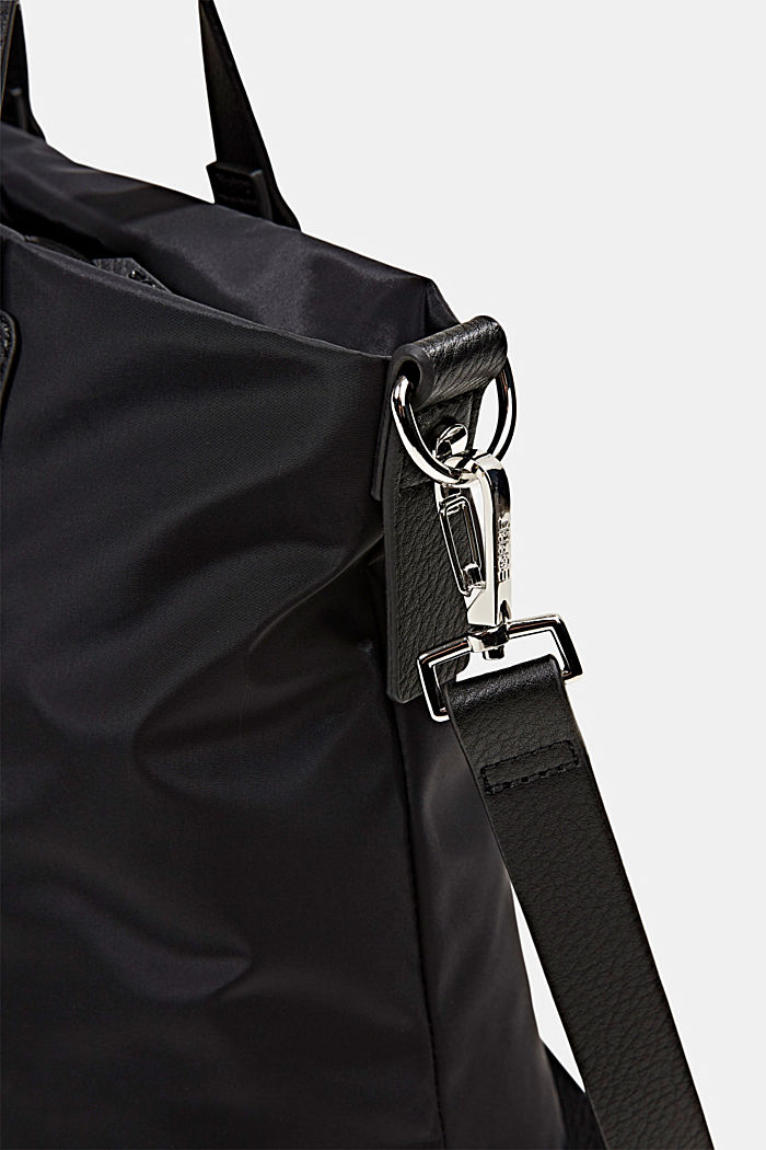 Recycled: Nylon bag with faux leather details, BLACK, detail image number 3