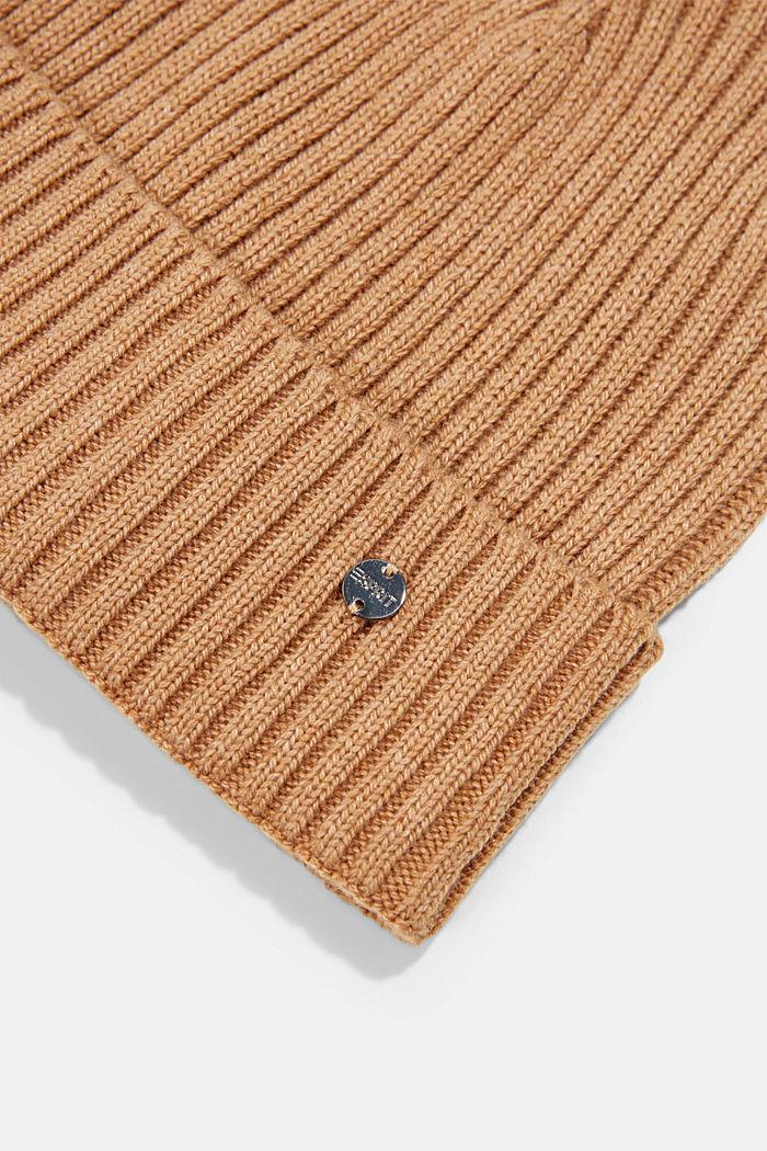 Reciclado: gorro en mezcla de lana, CARAMEL, detail image number 1
