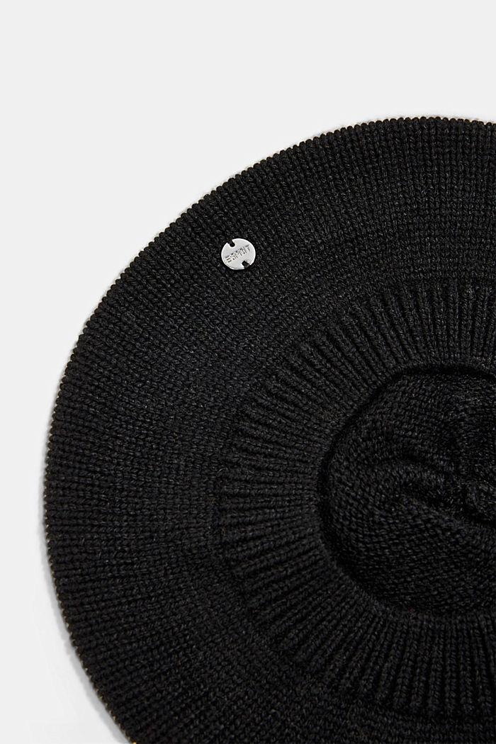 Reciclada: boina en mezcla de lana, BLACK, detail image number 1