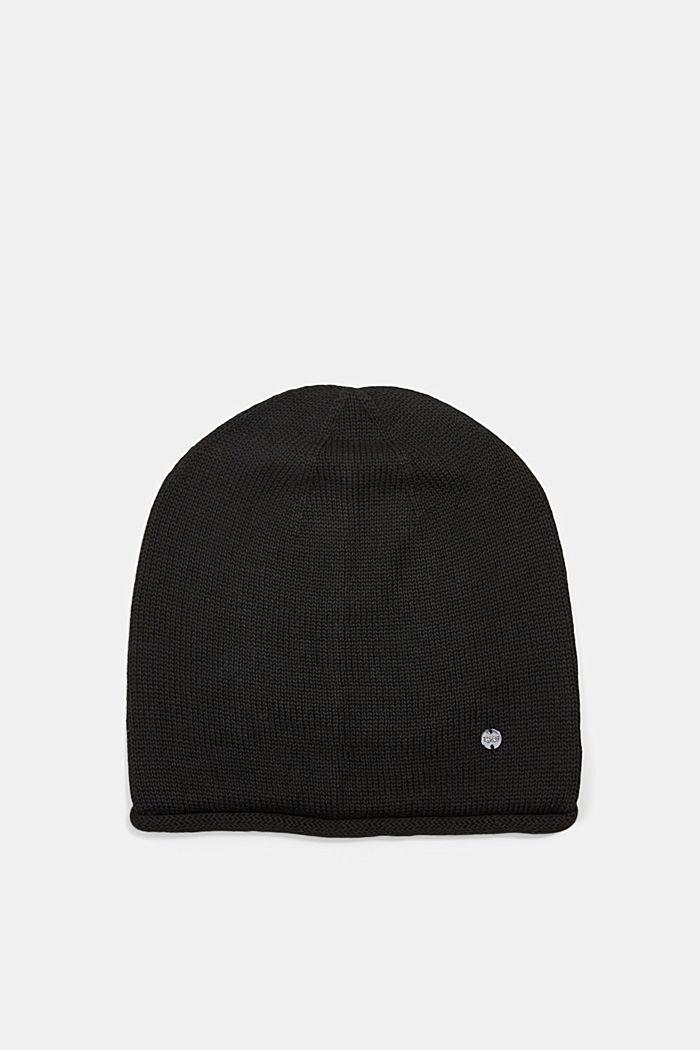 Beanie van 100% katoen, BLACK, detail image number 0