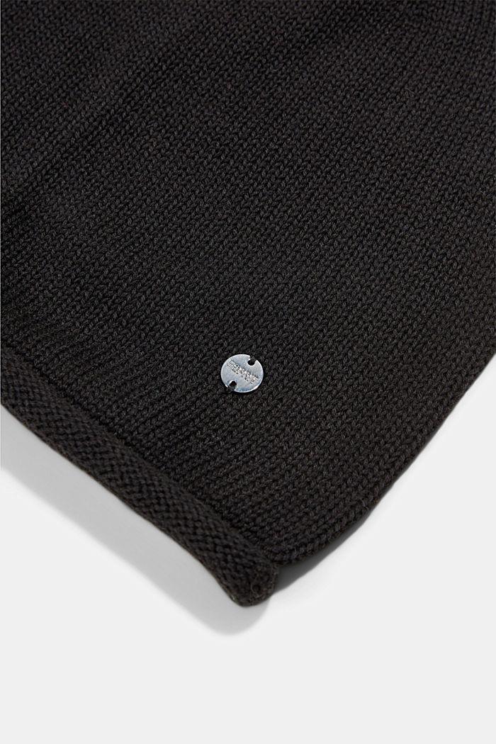 Beanie van 100% katoen, BLACK, detail image number 1