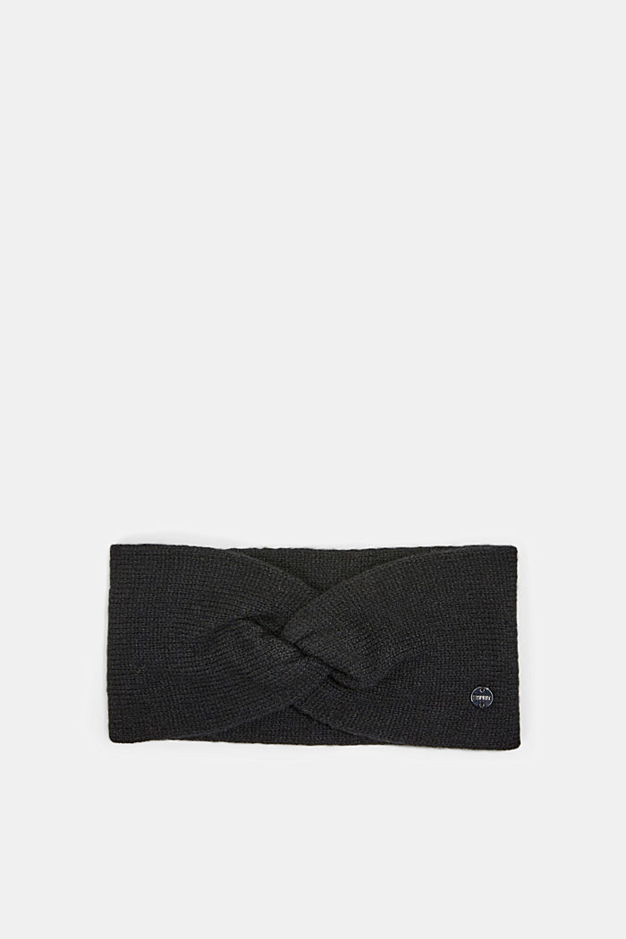 Knitted headband made of 100% cotton, BLACK, detail image number 0