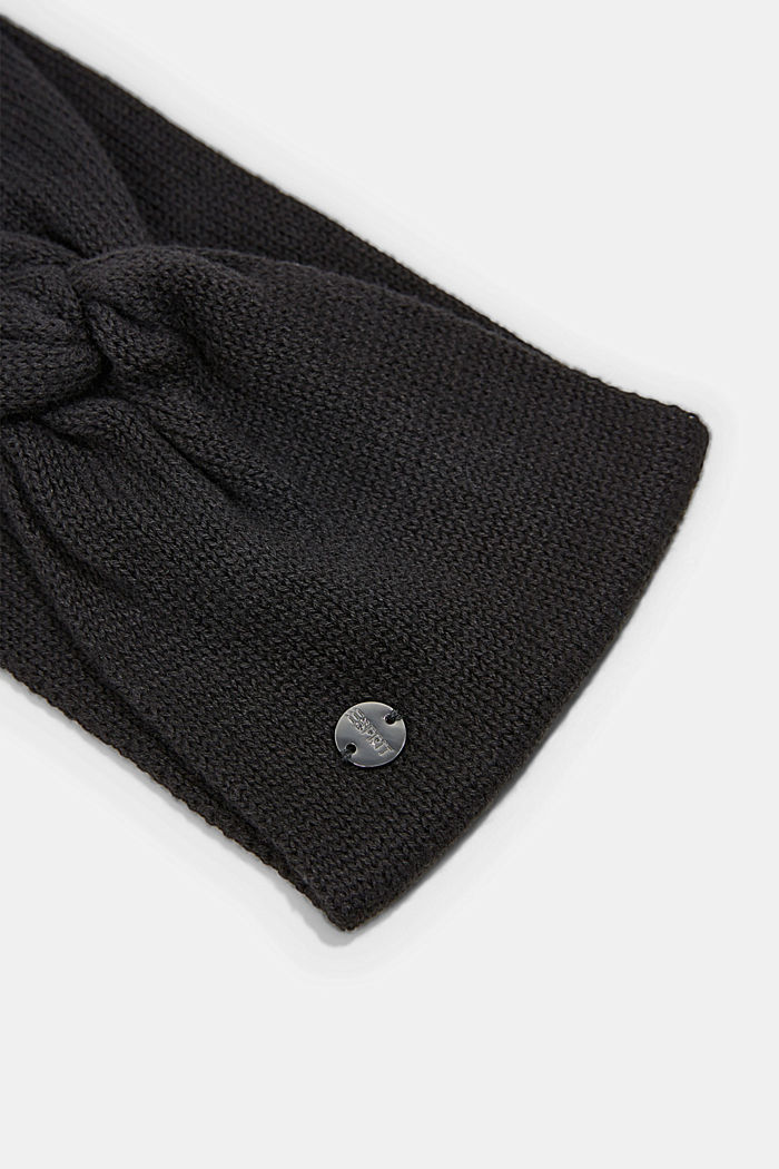 Knitted headband made of 100% cotton, BLACK, detail image number 1