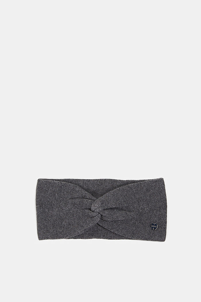 Knitted headband made of 100% cotton, DARK GREY, detail image number 0