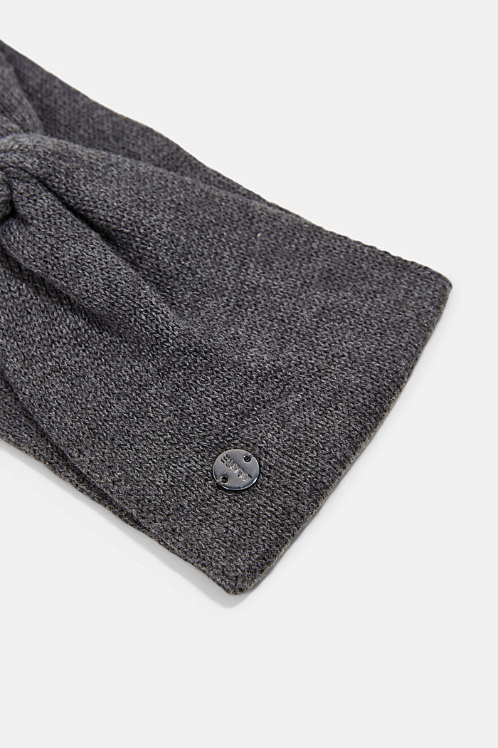 Knitted headband made of 100% cotton, DARK GREY, detail image number 1