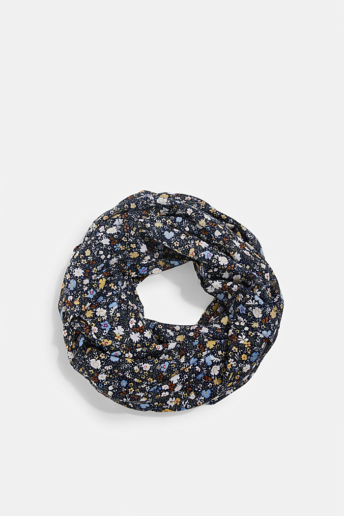Recycled: snood scarf with a floral print, NAVY, detail image number 0
