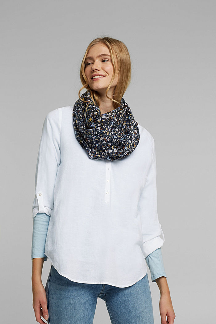 Recycled: snood scarf with a floral print, NAVY, detail image number 1