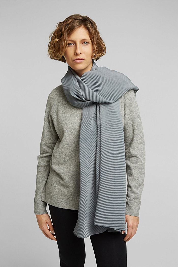 Scarf with accordion pleats, GREY, detail image number 1
