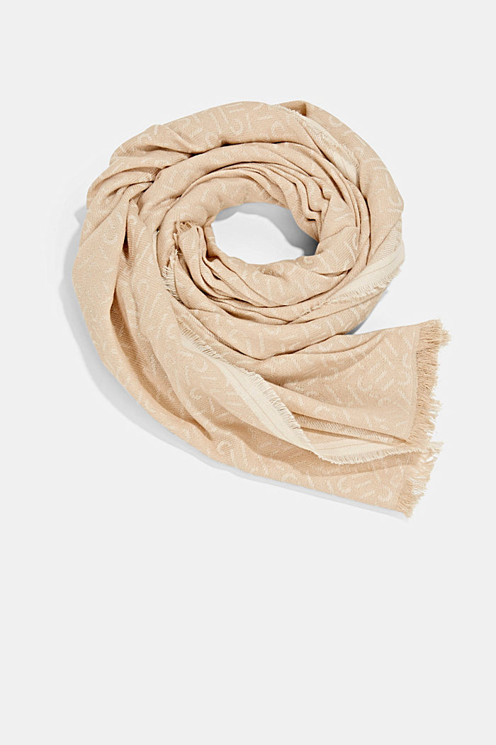 Scarf with a monogram, 100% cotton, SAND, detail image number 0