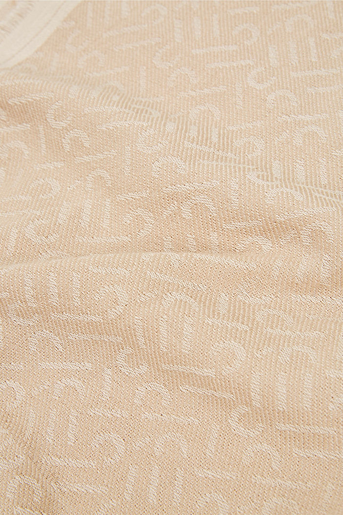 Scarf with a monogram, 100% cotton, SAND, detail image number 2