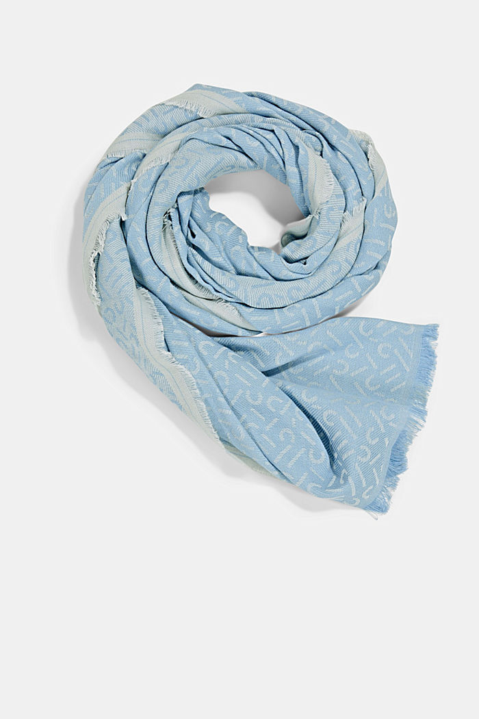 Scarf with a monogram, 100% cotton, LIGHT BLUE, detail image number 0