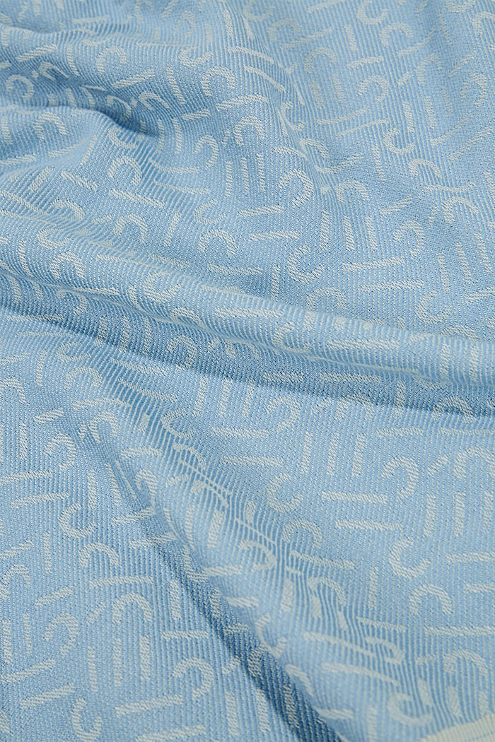 Scarf with a monogram, 100% cotton, LIGHT BLUE, detail image number 2