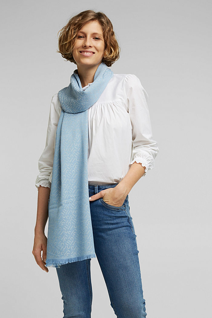 Scarf with a monogram, 100% cotton, LIGHT BLUE, detail image number 1