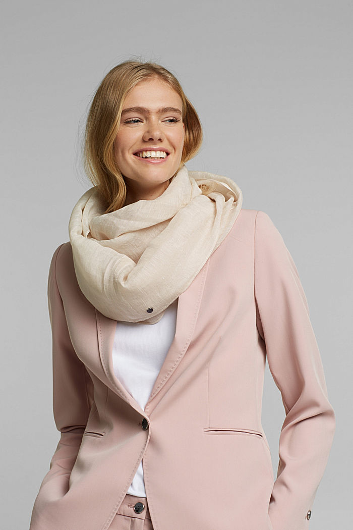 Made of blended linen: dainty snood, BEIGE, detail image number 1