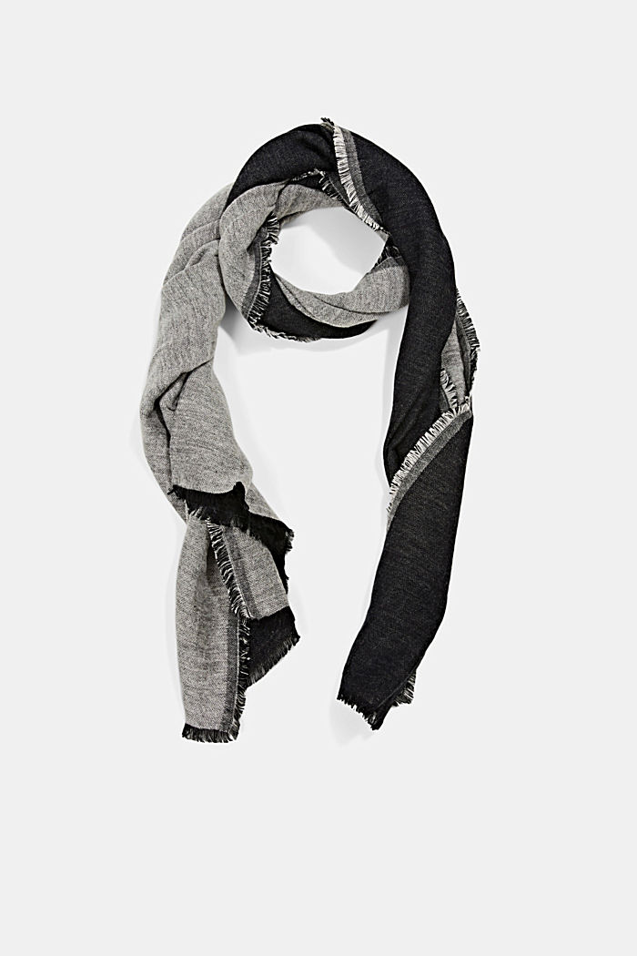 Sciarpa double face in misto cotone, BLACK, detail image number 0