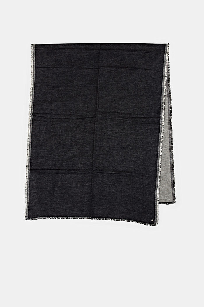 Sciarpa double face in misto cotone, BLACK, detail image number 3