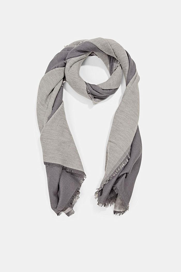 Double face sjaal van een katoenmix, DARK GREY, detail image number 0