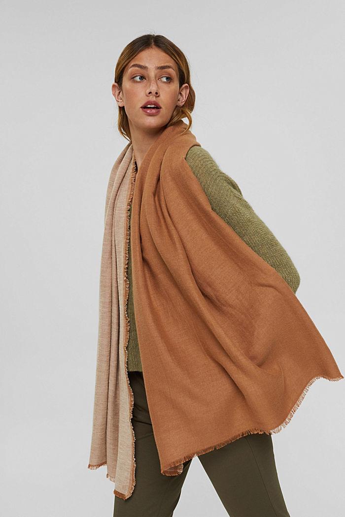 Double face sjaal van een katoenmix, CARAMEL, detail image number 3