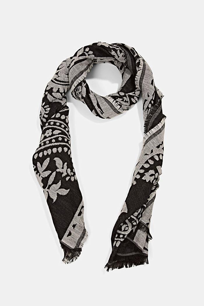 Sjaal van een katoenmix met paisleymotief, BLACK, detail image number 0