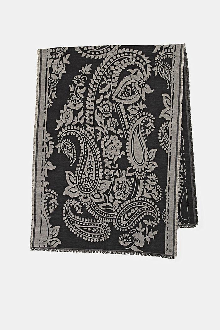 Sjaal van een katoenmix met paisleymotief, BLACK, detail image number 4