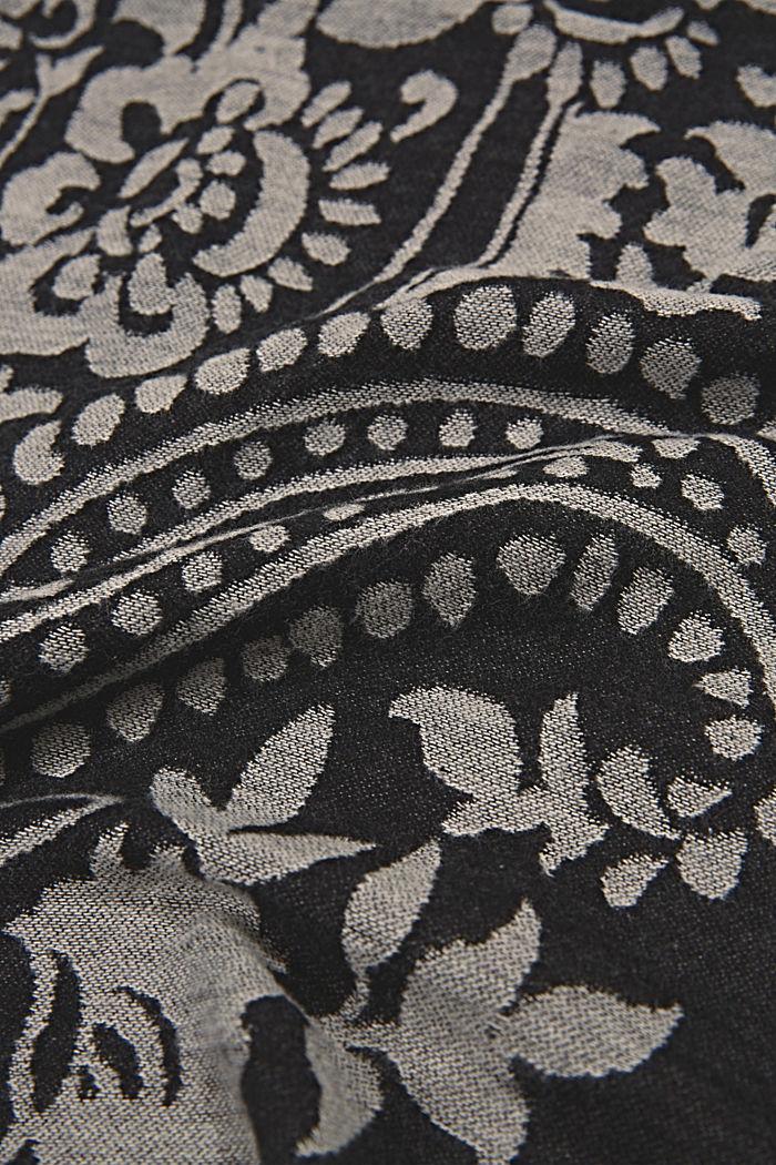Sjaal van een katoenmix met paisleymotief, BLACK, detail image number 2
