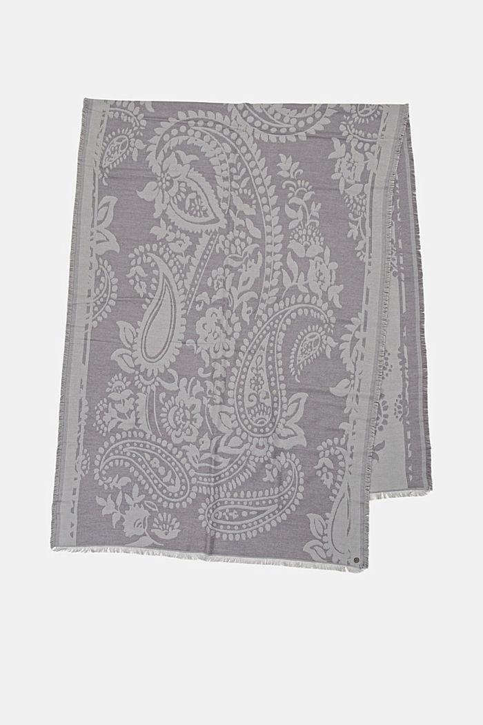 Écharpe à motif cachemire en coton mélangé, LIGHT GREY, detail image number 4