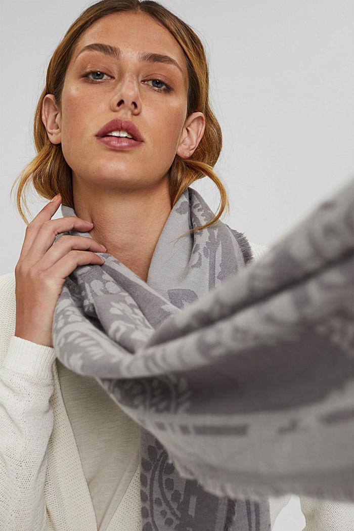 Écharpe à motif cachemire en coton mélangé, LIGHT GREY, detail image number 3