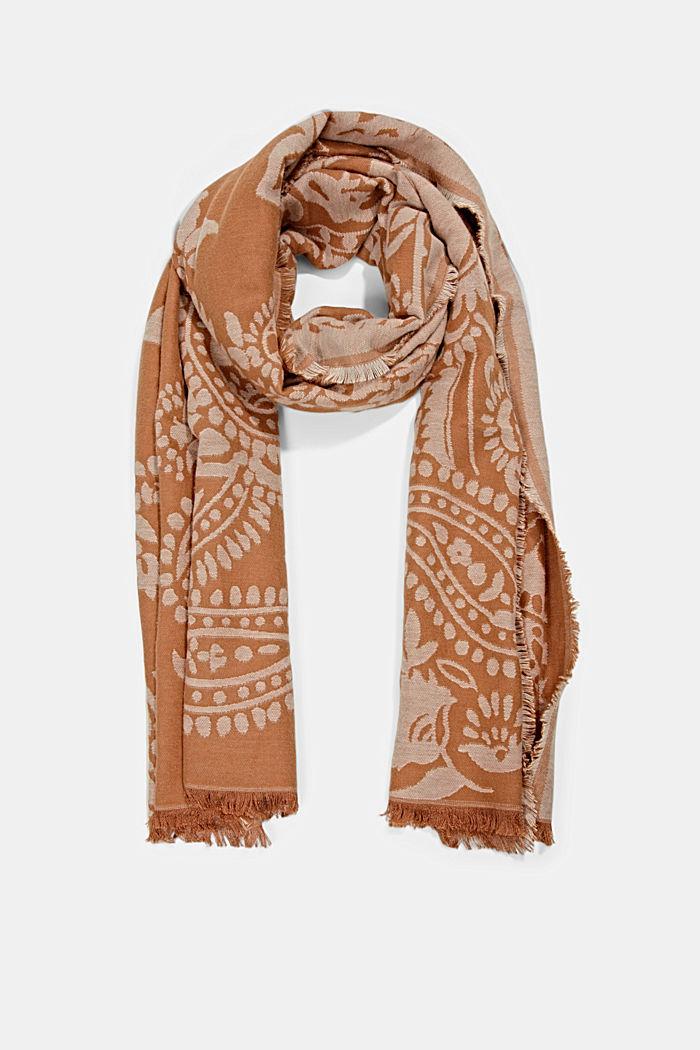 Sjaal van een katoenmix met paisleymotief, CARAMEL, detail image number 0