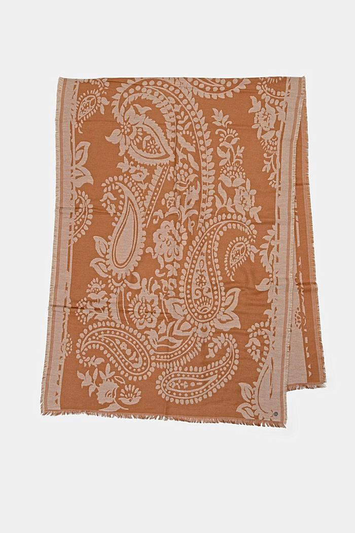 Sjaal van een katoenmix met paisleymotief, CARAMEL, detail image number 4