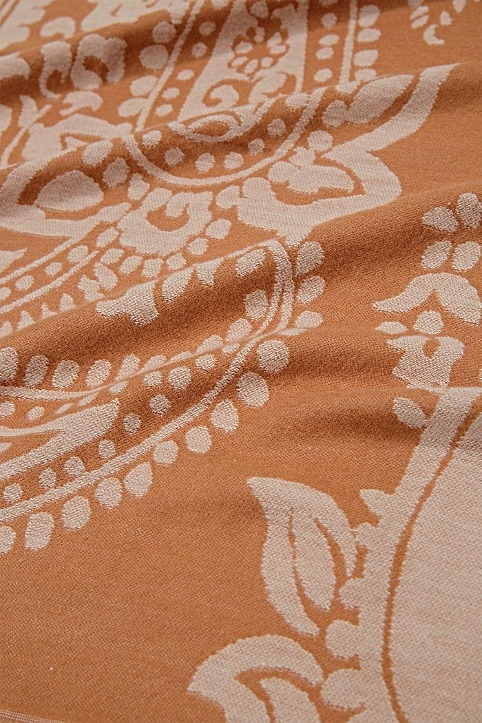 Sjaal van een katoenmix met paisleymotief, CARAMEL, detail image number 2