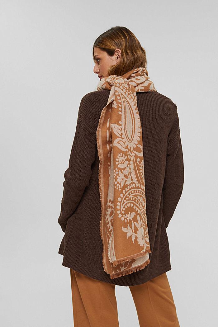 Sjaal van een katoenmix met paisleymotief, CARAMEL, detail image number 1