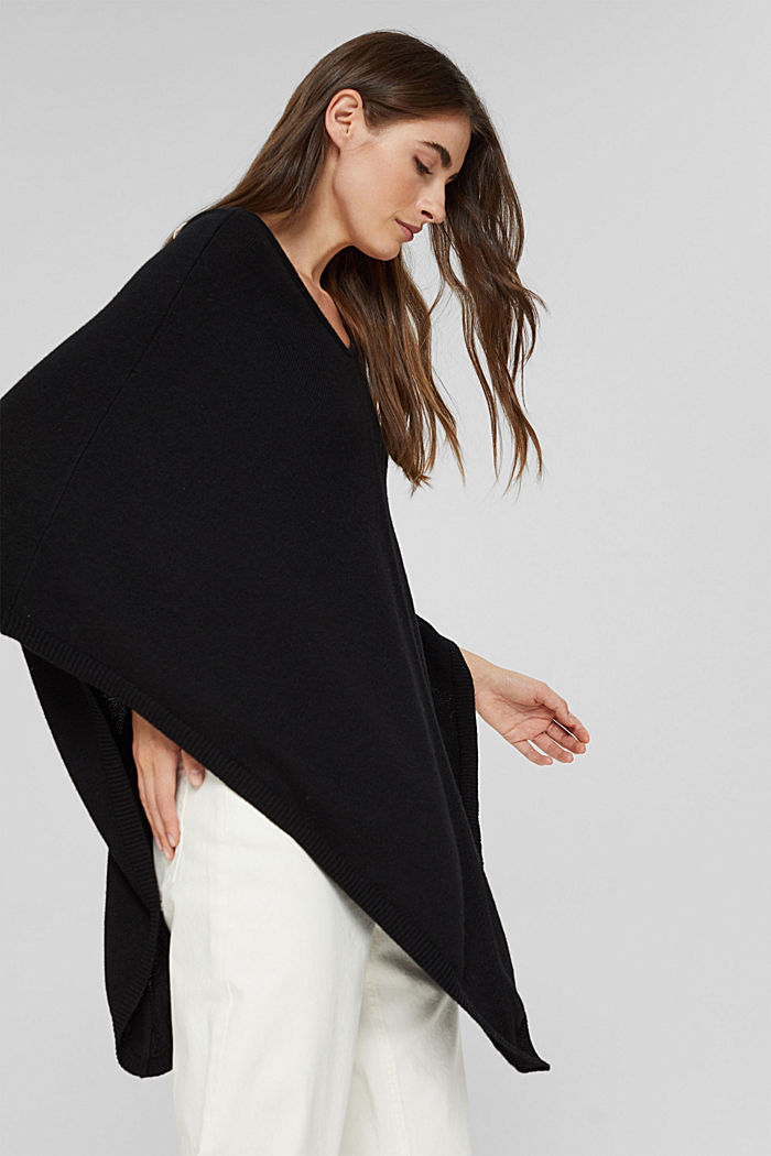 Recycled: blended wool poncho, BLACK, detail image number 4