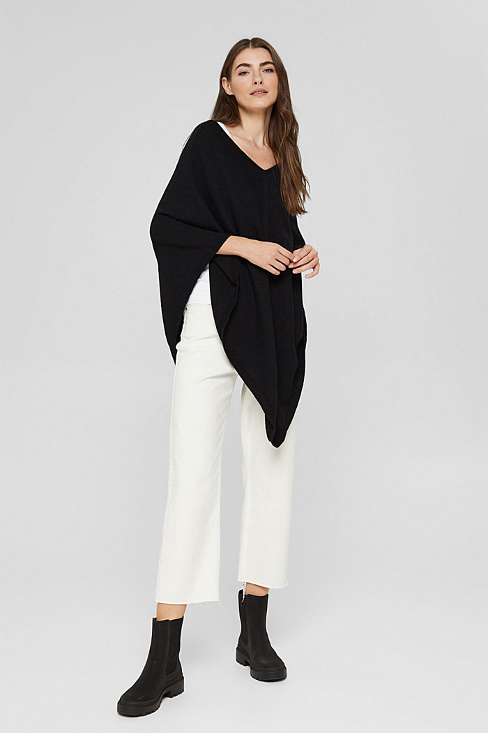 Recycled: blended wool poncho, BLACK, detail image number 1