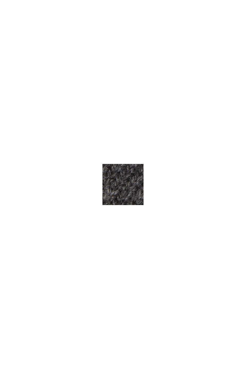 Gerecycled: poncho van een wolmix, DARK GREY, swatch