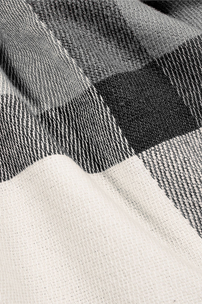 Recycled: large woven check scarf, LIGHT GREY, detail image number 2