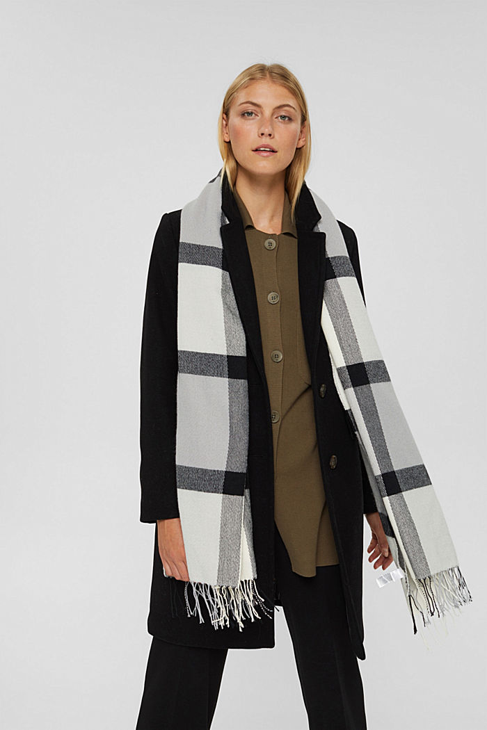 Recycled: large woven check scarf, LIGHT GREY, detail image number 1
