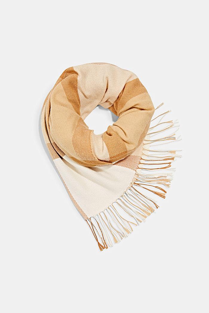Matière recyclée: la grande écharpe tissée à carreaux, CREAM BEIGE, detail image number 0